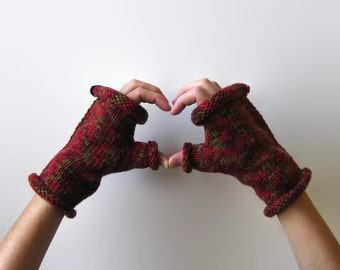 Crimson Red Gloves, Fingerless Gloves, Hand Warmers, Winter Accessories, Womens Gloves, Hand Knit Gloves, Fingerless Mittens, Wool Gloves