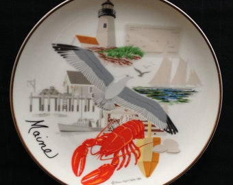 Vintage Souvenir Collector Plate - State of Maine - made in Japan 1980s