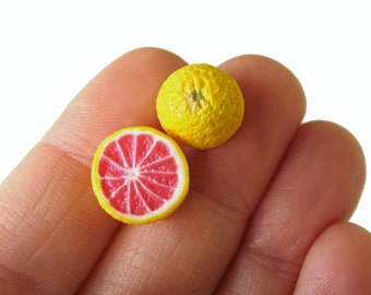 Grapefruit Earrings, Miniature Food, Food Jewelry, Fruit Studs, Fruit Jewelry, Fruit Earrings, Grapefruit Jewelry