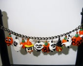 Halloweenie BOO Lampwork Charm Bracelet Halloween