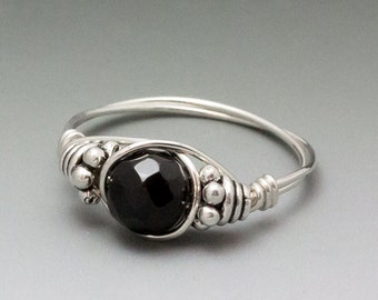 Black Schorl Tourmaline Faceted Bali Sterling Silver Wire Wrapped Bead Ring - Made to Order, Ships Fast!
