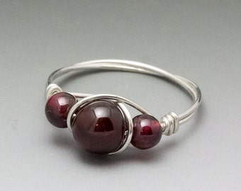Pyrope Garnet Sterling Silver Wire Wrapped Bead Ring - Made to Order, Ships Fast!