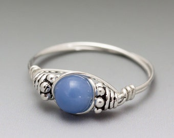 Blue Quartz Bali Sterling Silver Wire Wrapped Bead Ring - Made to Order, Ships Fast!