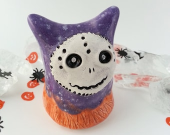 Halloween Monster Figurine in Purple and Orange