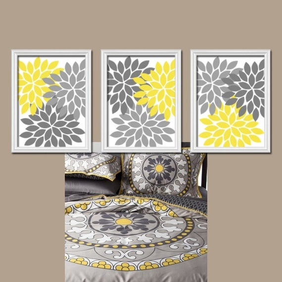 Yellow Gray Wall Art Canvas Or Prints Bedroom By Trmdesign