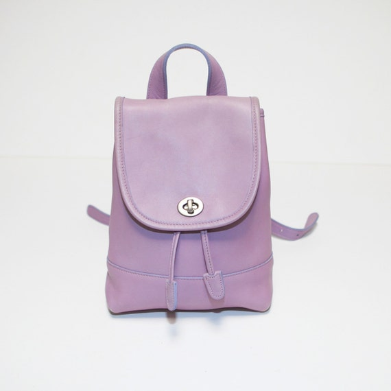Rare Coach Lavender Lilac Purple Leather Backpack Rucksack Bag