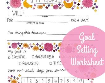 Goal Setting Worksheet - PDF printable instant digital download