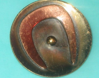 Vintage 60s Hogan Bolas Modernist Copper and Brass Abstract Pin