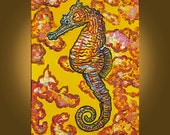 Art Painting -- Floating Seahorse in a Warm Sea -- 18 x 24 inch original painting by Elizabeth Graf on Etsy, Art Painting