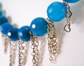 Sky Blue Stone and Multi Chain Necklace, Free Shipping, Laura Mae Jewelry, OOAK