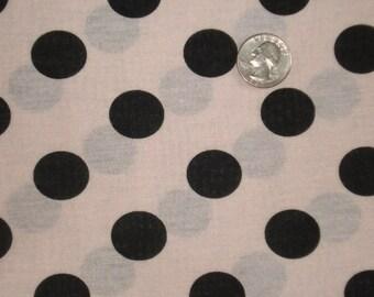 New black polka dots on baby pink  cotton jersey knit fabric 1 yard