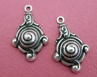 2 Silver Drop Charms 3529