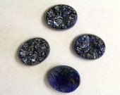 Vintage blue and black glass textured cabochons stones . 10x8mm (4)
