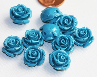 10 pcs of Synthetic Coral flower beads 14x13mm Blue