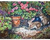 BUNNY MAGIC -11x15 original painting landscape watercolor OOAK,- Bunny, rabbit, flowers, garden, yard, animal