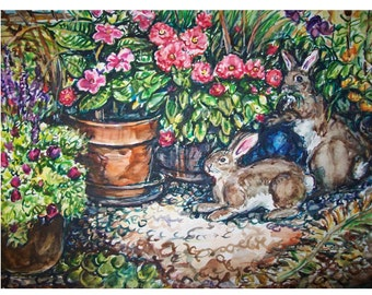 BUNNY MAGIC -11x15 original painting landscape watercolor OOAK,- Bunny, rabbit, flowers, garden, yard, animal