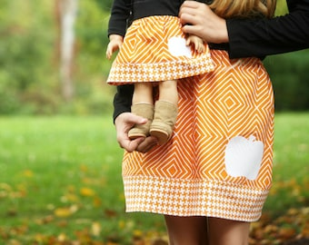 Size 8 SAMPLE SALE - Matching Girl and Doll Skirts fits American Girl Doll - Appliqued Twirl Skirts in Pumpkin Orange