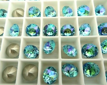 6 Light Turquoise Glacier Blue Swarovski Crystal Chaton  Stone 1088 39ss 8mm