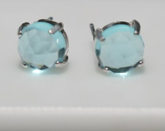 Sky Blue Quartz Earrings , Silver Stud Earrings , Blue Post Earrings , Sterling Silver Quartz Earrings by Maggie McMane Designs