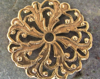Round Filigree Antiqued Gold Brass Jewelry Findings 327 - 6 pieces