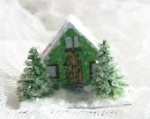 Vintage Putz Style lighted Tiny Miniature Green Glitter Sugar House Shabby Christmas Village Ornament Santa Tree