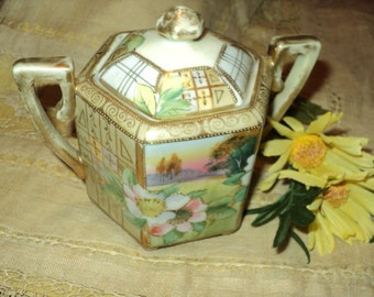 Lovely Vintage Covered Nippon-Hand Painted-Gold Trim Sugar Bowl