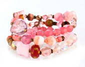 Stacking Bracelets - three stone and glass bead bracelets in shades of pink (B3D)