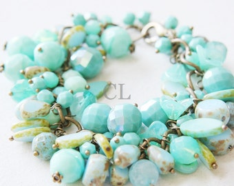 Turquoise and Antique Brass Cluster Bracelet - multiple shades of turquoise and seafoam green (B39)