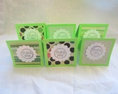 6 Mini Blank 3x3 Notecards in Lime Green with Hand-Stamped Thank You
