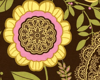 Fabric by the Yard - Amy Butler -- Lotus Collection -- Lacework Pattern Brown