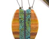 Polymer Clay Earrings - Southwestern Landscapes Series - Chuparosa Hummingbird Earrings