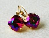 BUY one GET one Lava Fuchsia Swarovski Crystal Rhinestone Earrings, Tennis Style Leverback