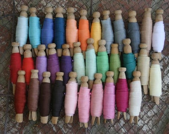 Seam Binding Ribbon 170 yards -34 Different Colors of the Rainbow - Clothespin Wrapped