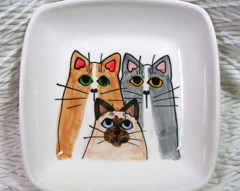 Cat Trio On A Square Clay Dish / Bowl Ceramic Handmade by Grace M Smith