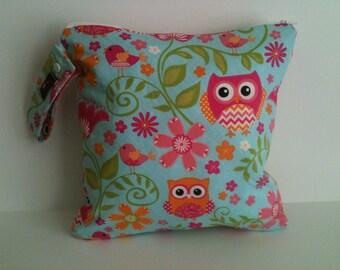 Wet Bag For Cloth Diapers,Wet Bag, Cloth Diaper Wet Bag, Diaper Bag,Cloth Pads,, Pink Owls