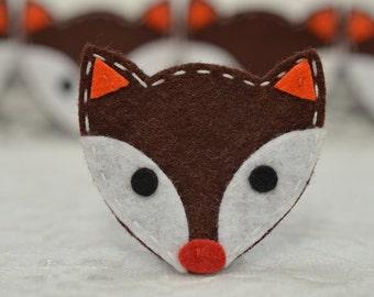Set of 6pcs handmade felt fox--chocolate (FT994)