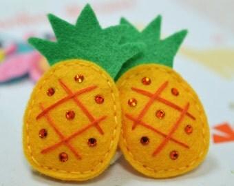 Set of 6pcs handmade felt puffy pineapple--marigold (FT920)