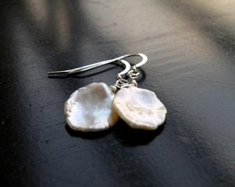 Keishi Petal Pearl Wire Wrapped Sterling Silver Dangle Earrings
