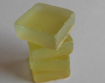 Citron Beach Glass Look Glass Tile magnets Set Of 4