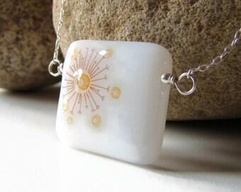 Modern Burst Fused Glass Necklace Sterling Silver SALE