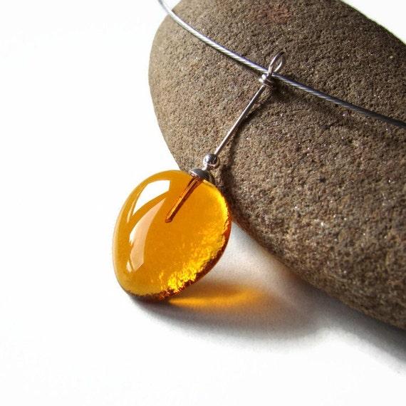 Amber Teardrop Fused Glass Necklace Modern