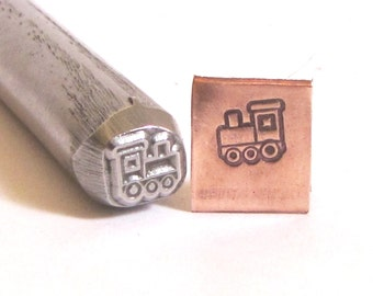 Choo Choo train 3/8 design stamp Great detail on this stamp 7 mm x 6.25 mm Toy train