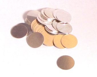 """sterling silver discs 5/8"""" in 24 gauge, set of 12 for charm stamping"""