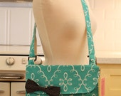 Messenger Bag Aqua Damask Cross Body Bag Purse