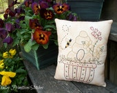 Decorative Bee Keeper Pillow, Hand Stitched Pillow, Bee Hive, Bees, Summer, SCOFG