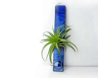 Stained Glass Air Plant Holder - Royal Blue