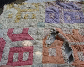 Vintage Well Loved Old School House Cutter Quilt Piece