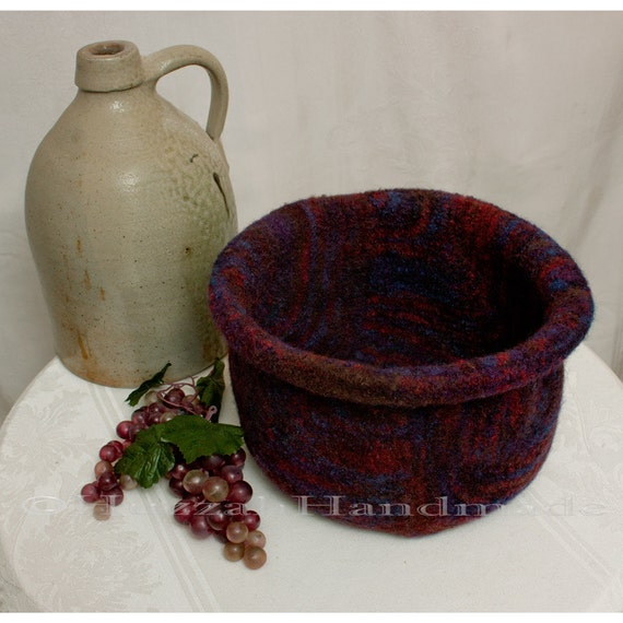 Large Felted Bowl in Jewel Tones