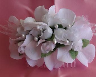 Bridal Hair Wedding Hair White Pearl Rosebud Hair Comb Fascinator