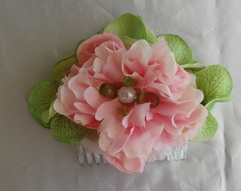 Bridal Hair Wedding Hair Flower Hair Comb Pink Peony Hydrangea Hair Comb Fascinator